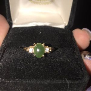 1930 delicate diamond and jade ring
